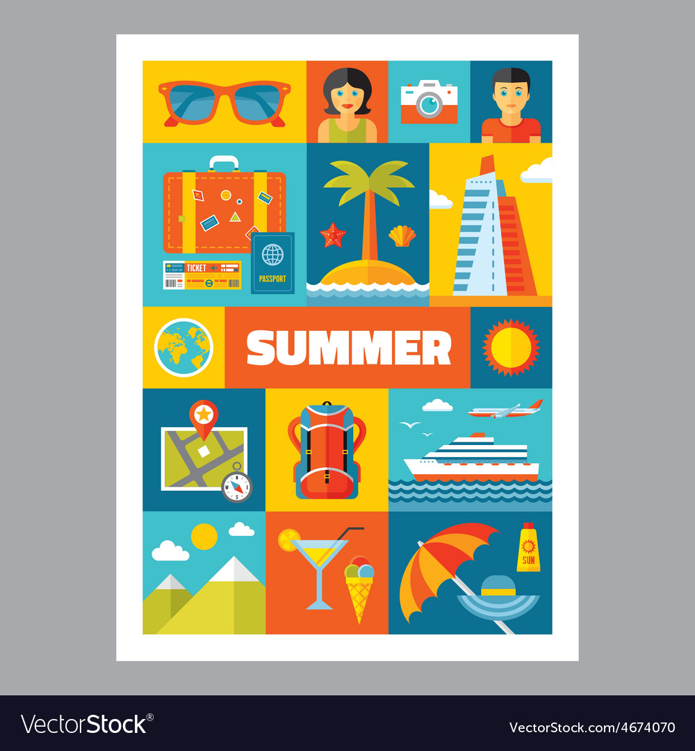 Summer holiday - mosaic poster with icons vector image