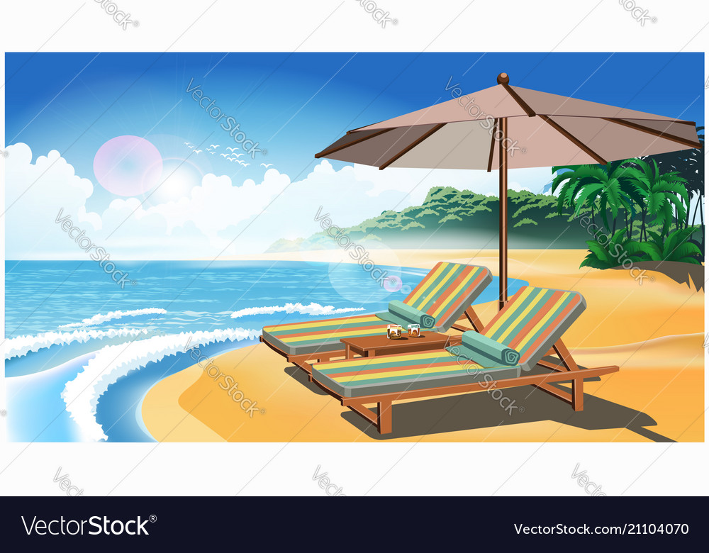 Two deck chairs and an umbrella on the beach