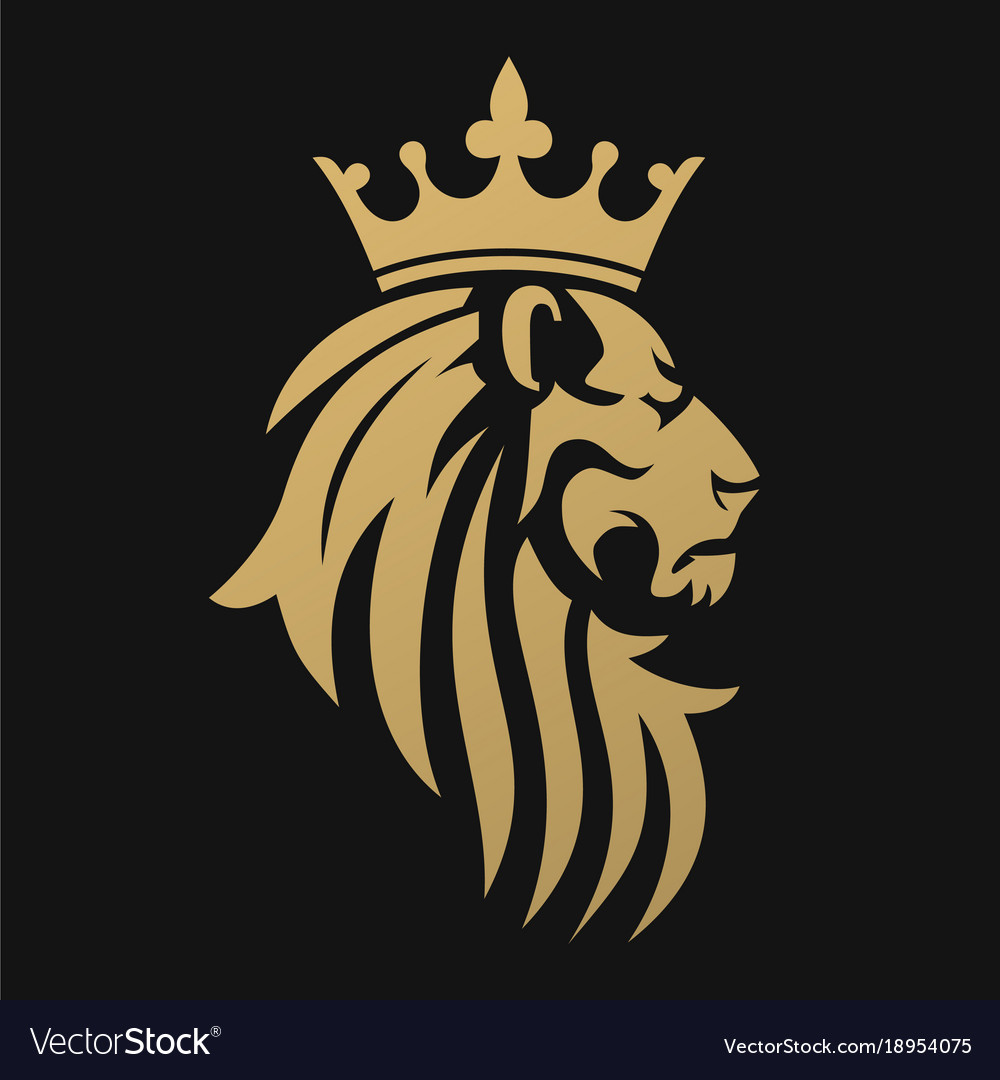 A golden lion with a crown Royalty Free Vector Image