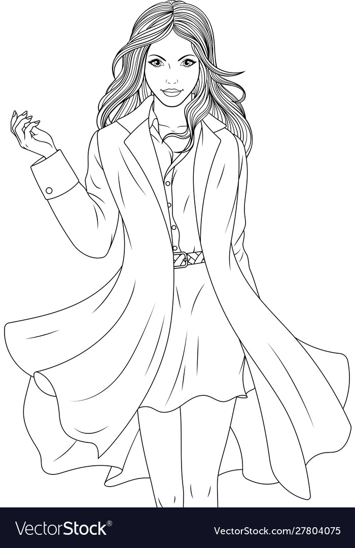 Beautiful girl in a stylish coat coloring book