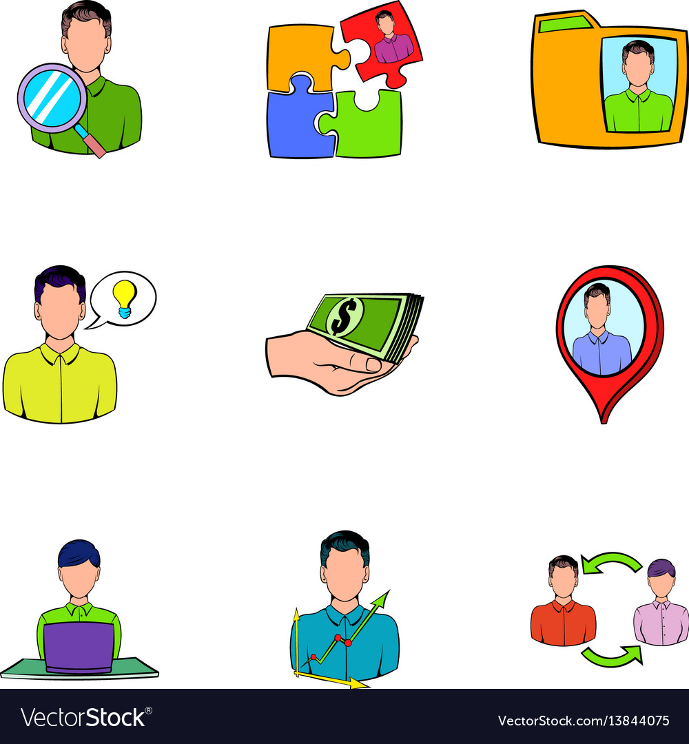 Business relationship icons set cartoon style