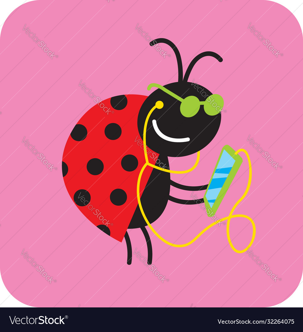 Cheerful beetle in green glasses communicates wit