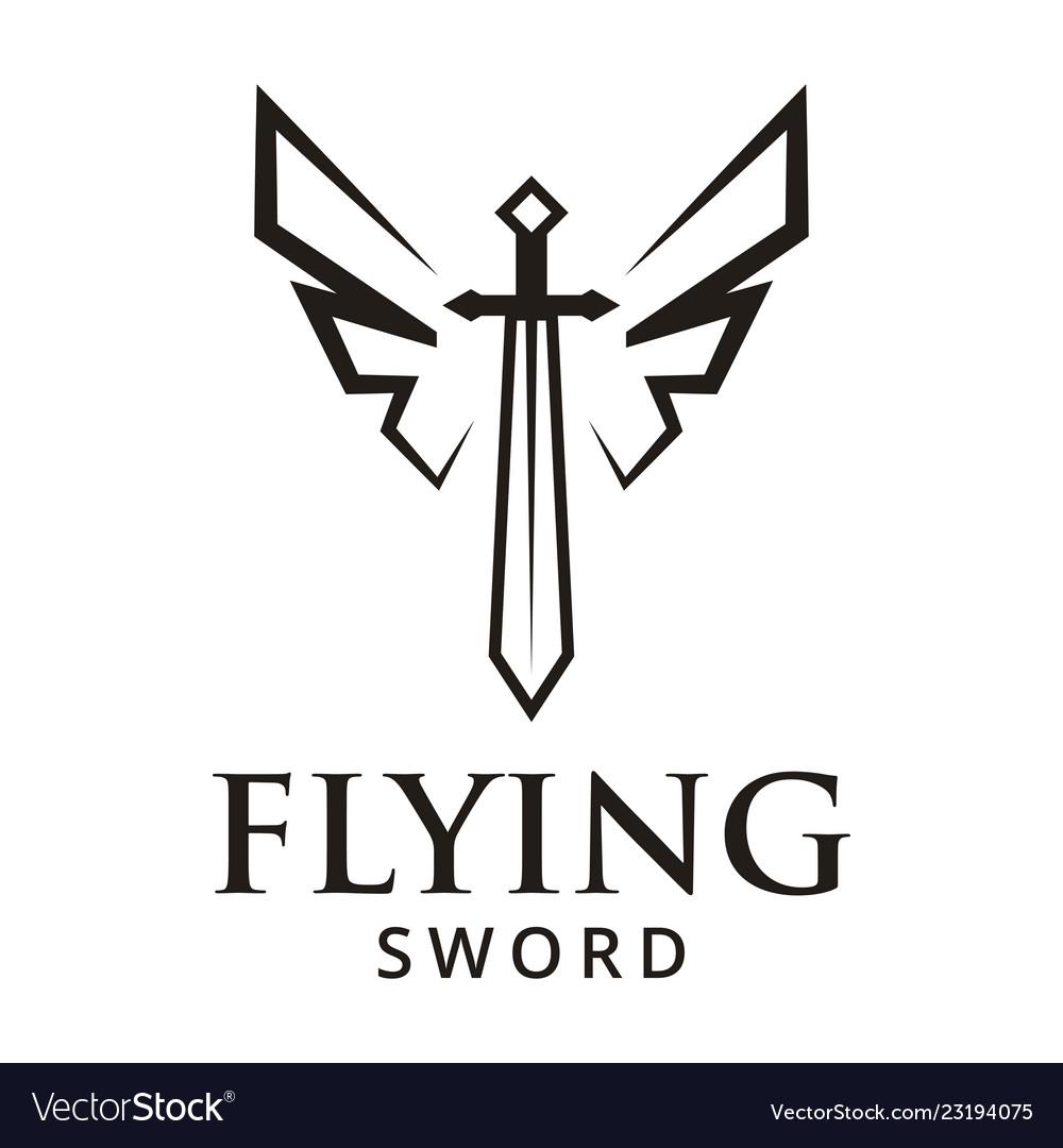 Flying sword logo design inspiration Royalty Free Vector