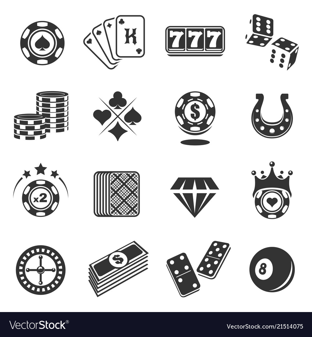 Gambling black icons set isolated from background
