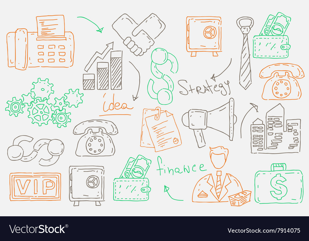 Hand drawn doodles background with business icons