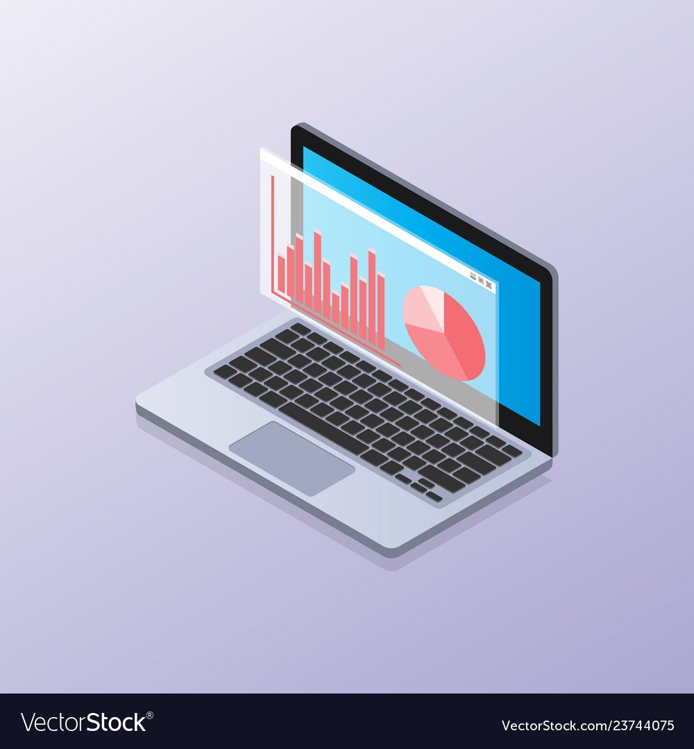 Laptop isometric with elements data and statistics