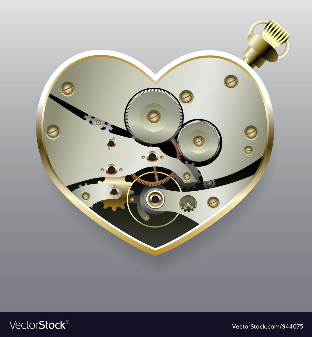 Metal steampunk heart with gears