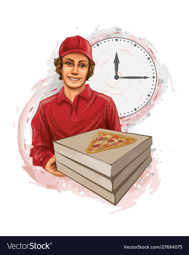 Pizza delivery man holding a cardboard box with a