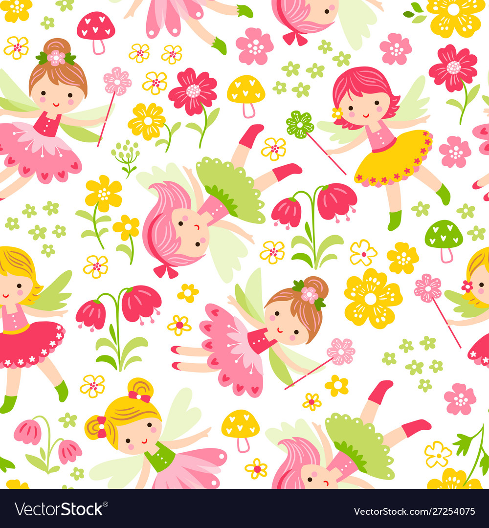 Seamless with fairies and flowers on