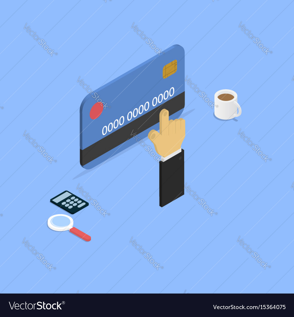 Shopping with credit card isometric
