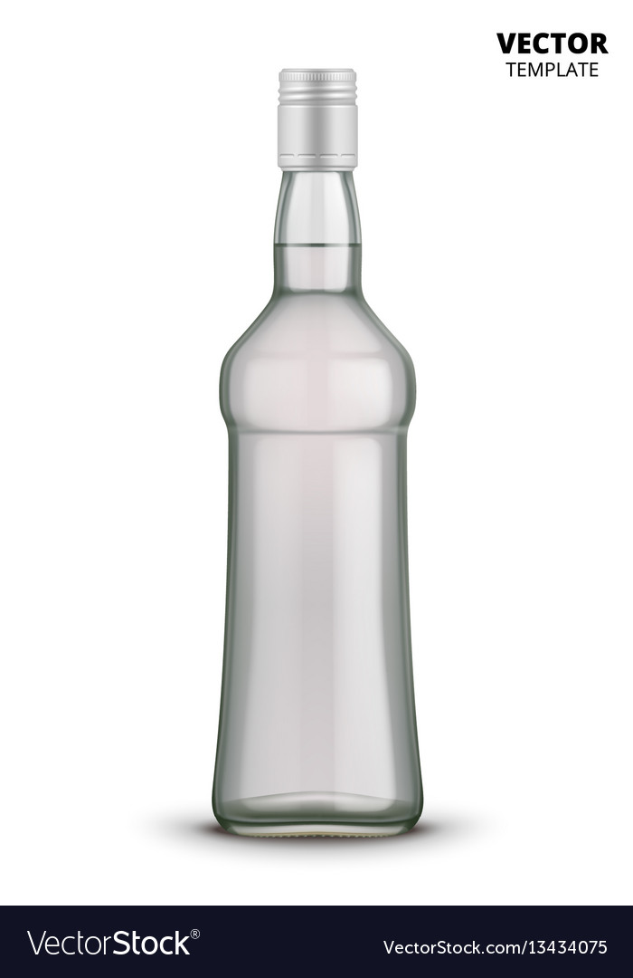 Vodka bottle glass mockup isolated