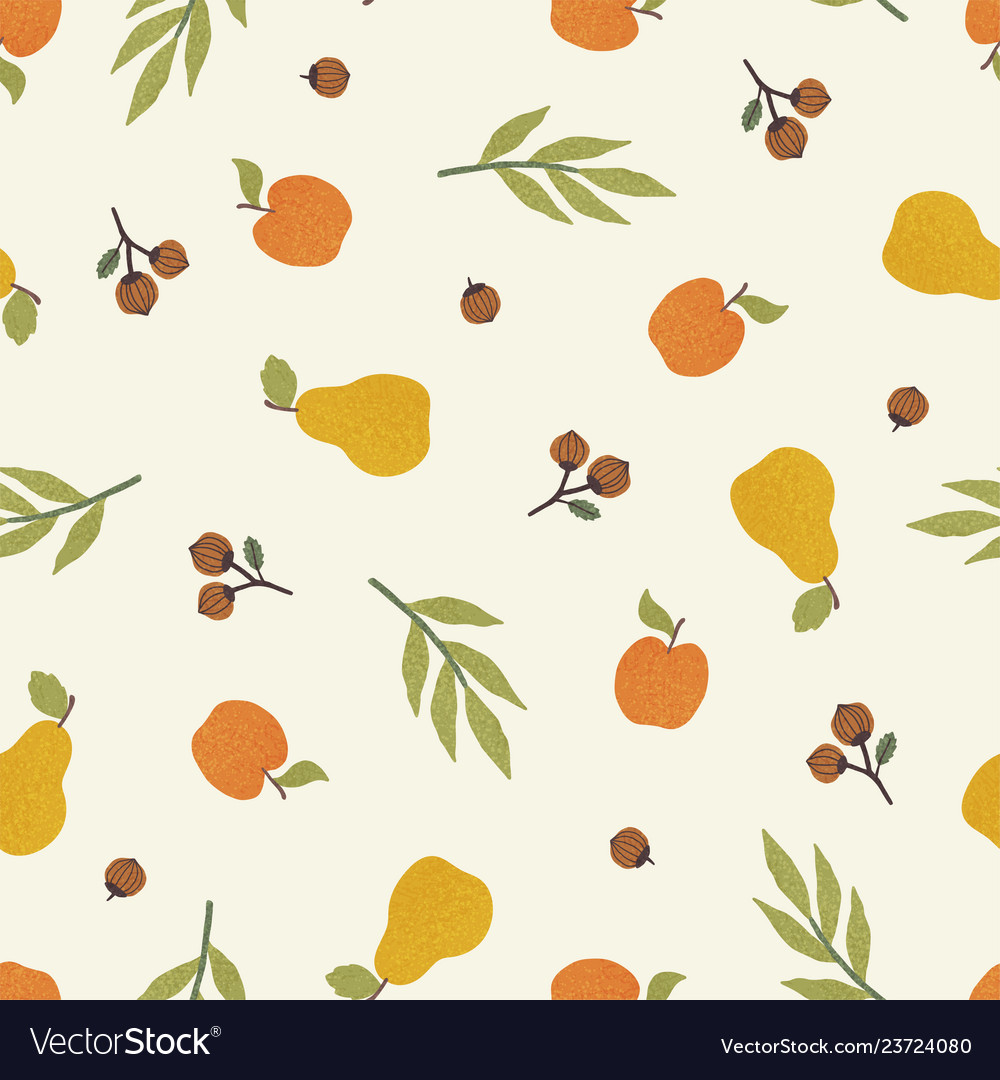 Apples pears and nuts autumn seamless pattern
