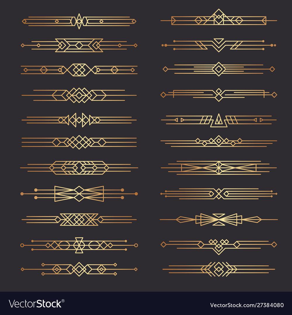 Art deco dividers lines shapes decorative borders