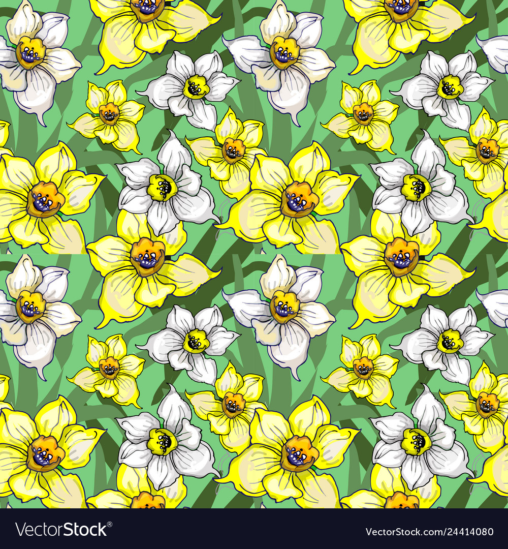 Botanical seamless pattern with flowers of