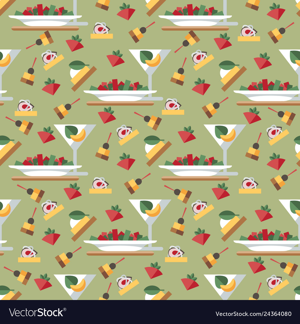 Cocktail party aperitif seamless pattern