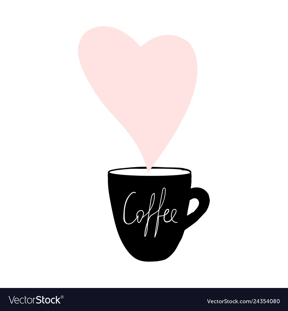 Cups coffee mug heart love hand drawn style