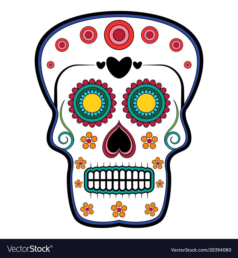Floral ornamente head skull day of the dead