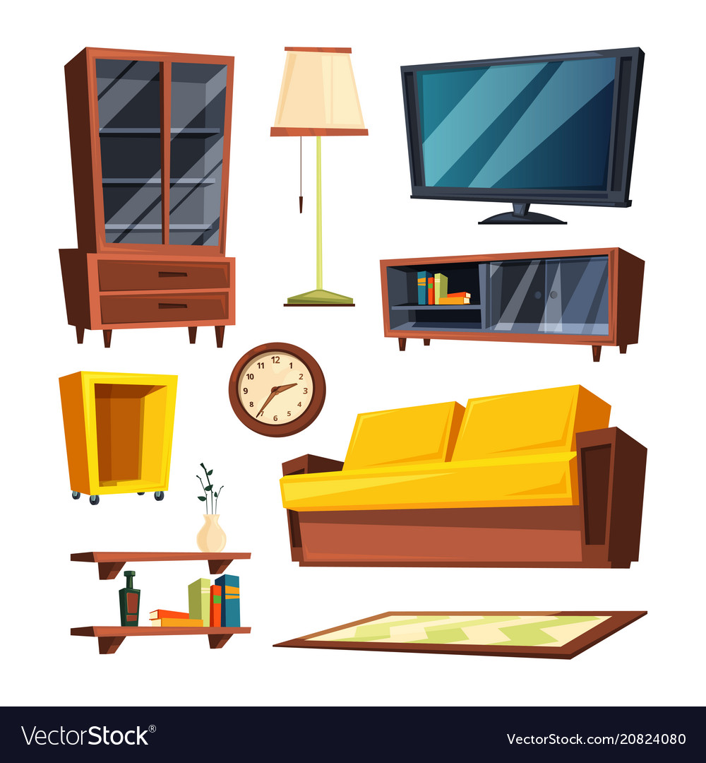 Furniture Ideas For Living Room Stock Vector: Living Room Furniture Items Royalty Free Vector Image