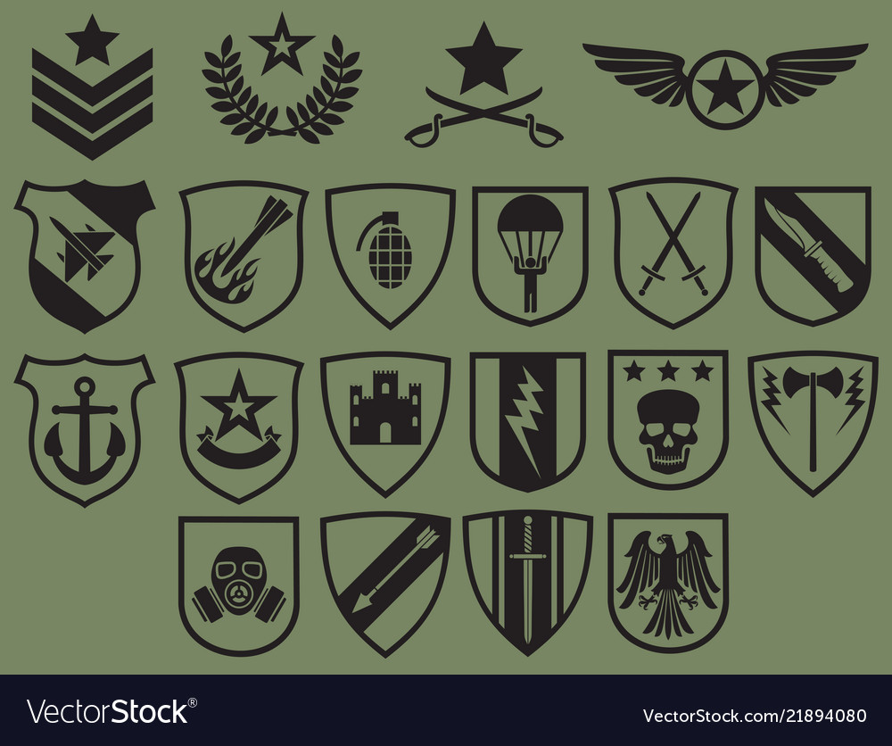 Military symbols icons set - army emblems