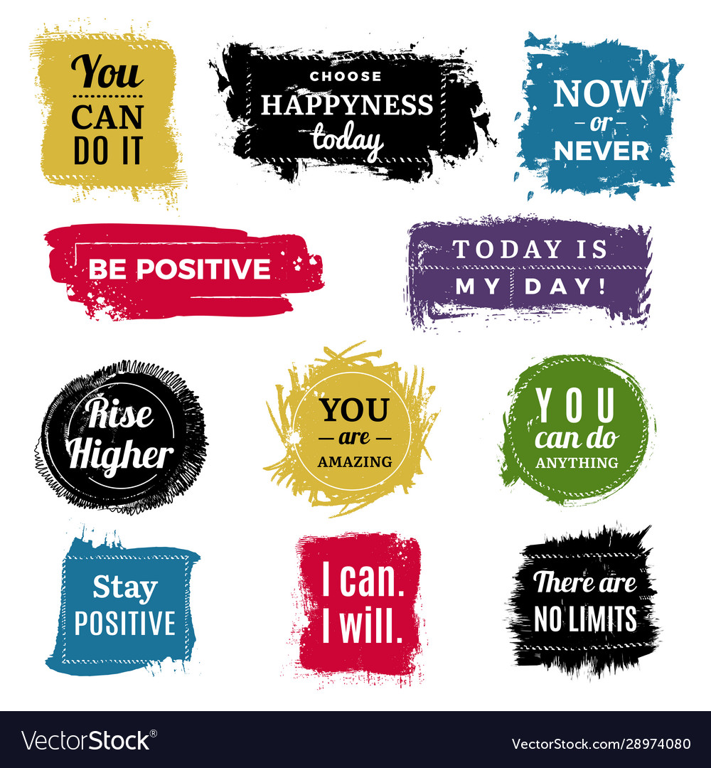 Motivation badges grunge background ink brush