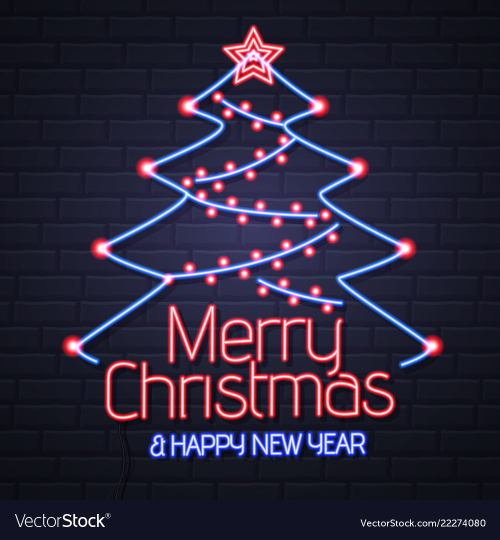 Neon sign merry christmas and happy new year