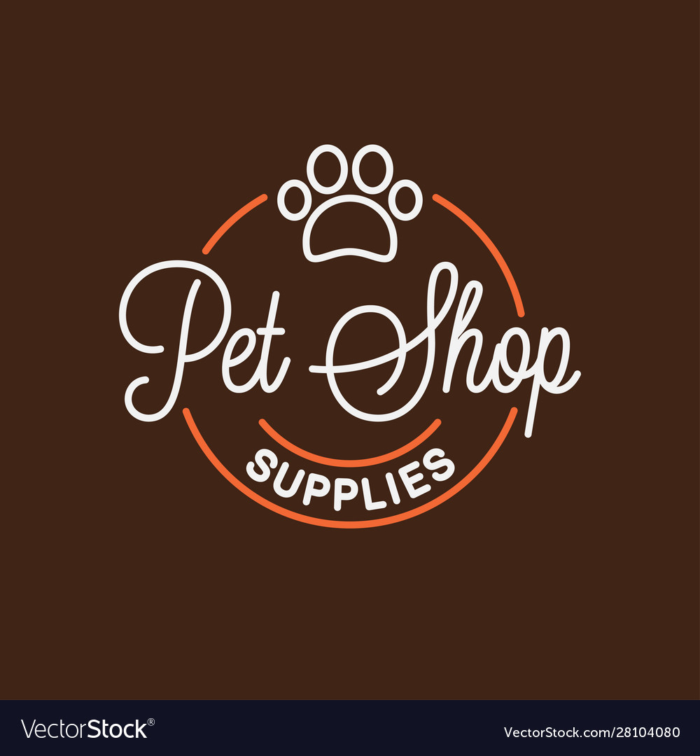 Pet shop logo round linear logo pet supplies
