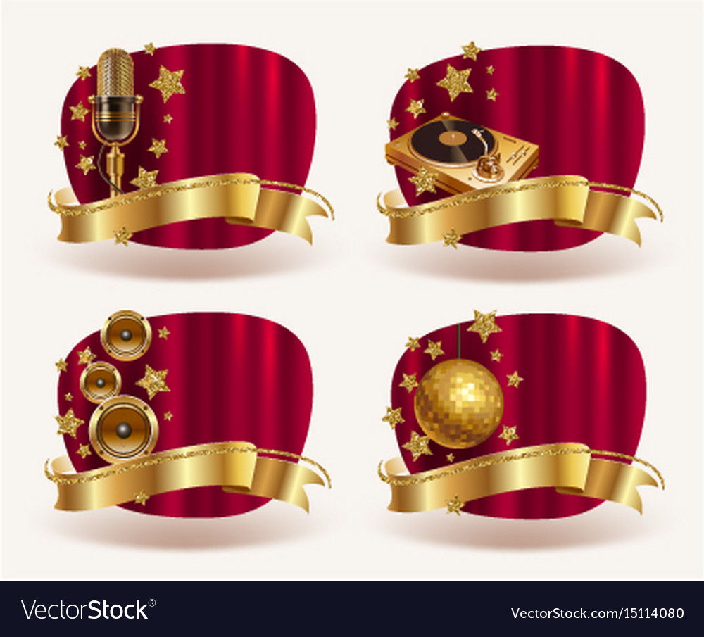 Red frames with golden musical equipments vector image