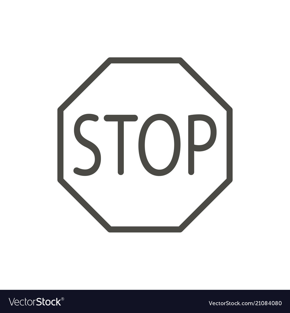 Stop traffic icon line warning stop road s