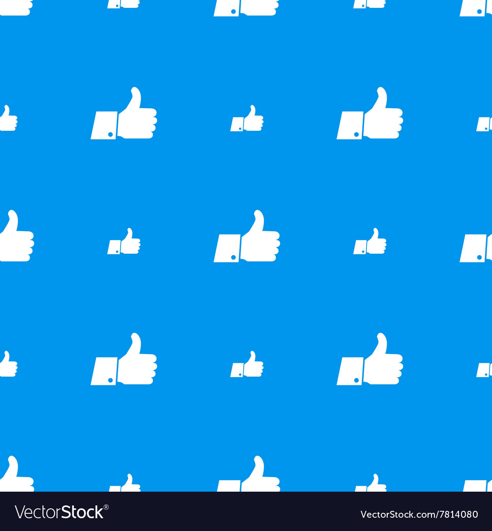 Thumbs up white icons on blue seamless pattern