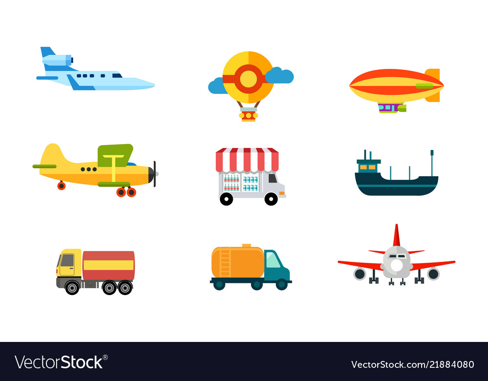 Transport icons air transport river and sea