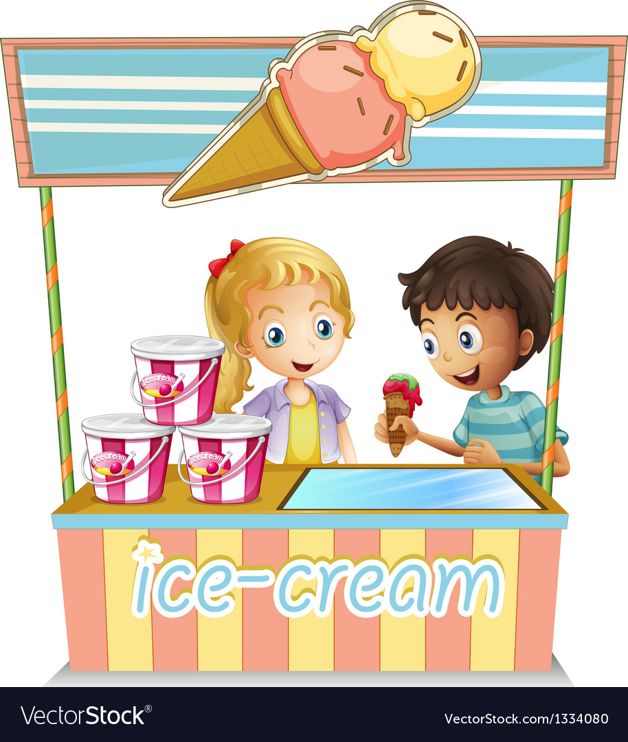 Two young kids at the ice cream stand