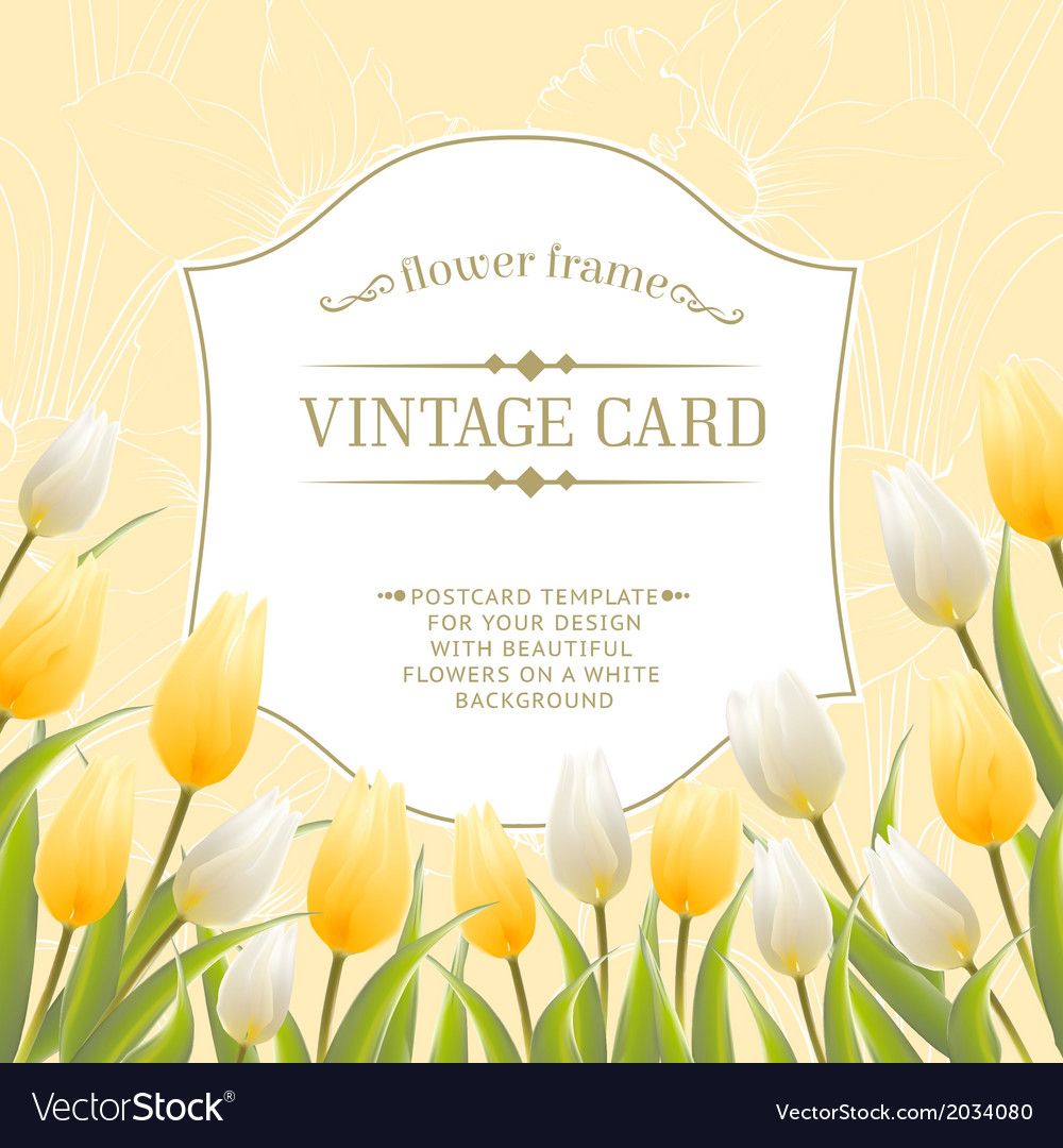 Vintage card with tulips
