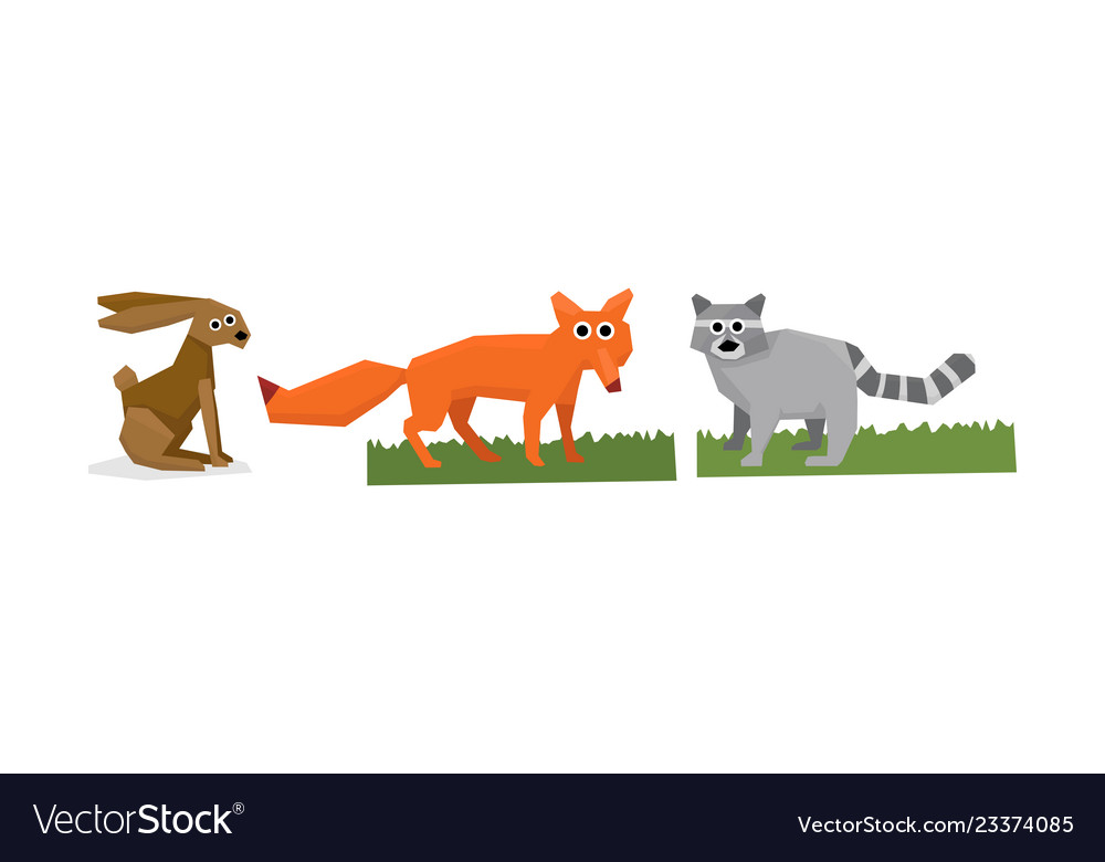 Collection of cute geometric animals hare fox