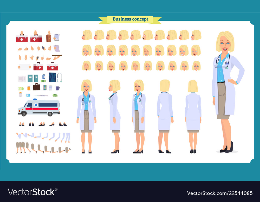 Female doctor character creation set