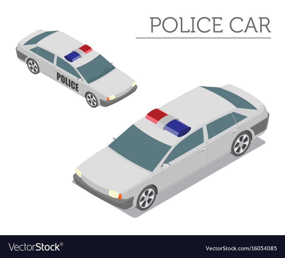 Flat 3d Isometric Police Car Isolated On White Vector Image On Vectorstock
