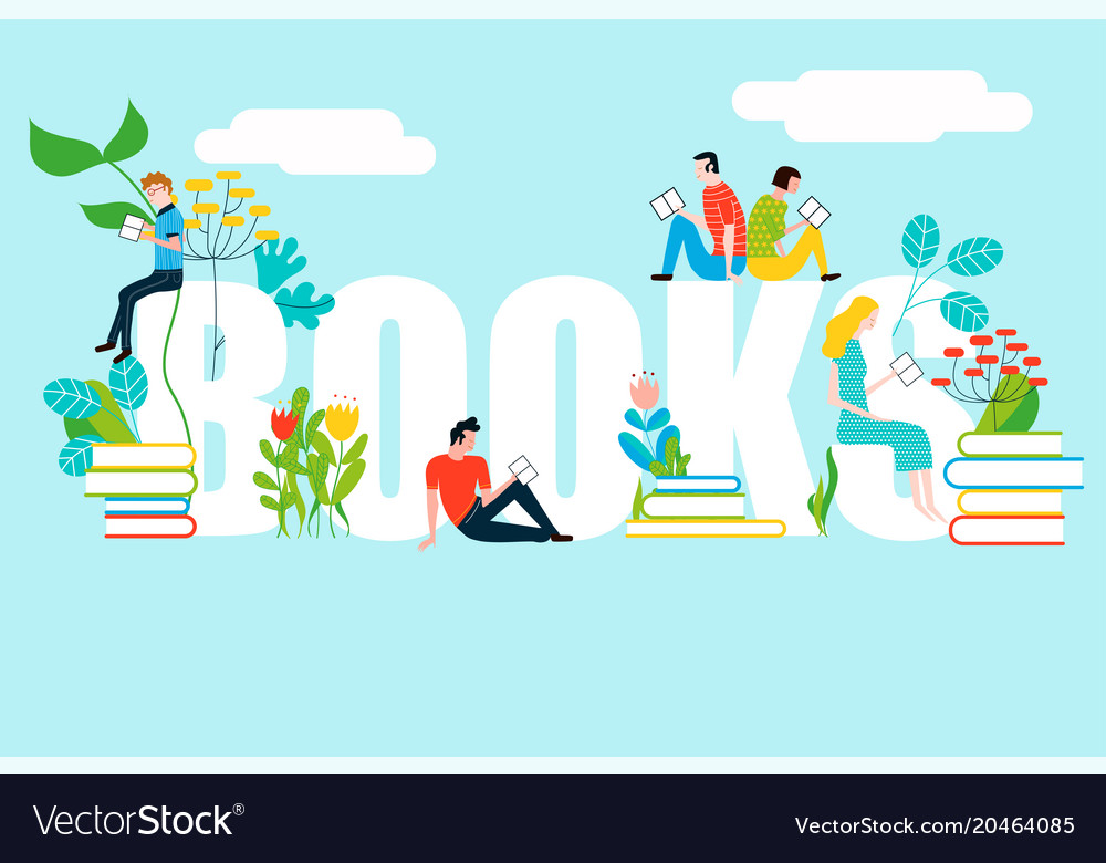 Happy people reading on books text - colorful