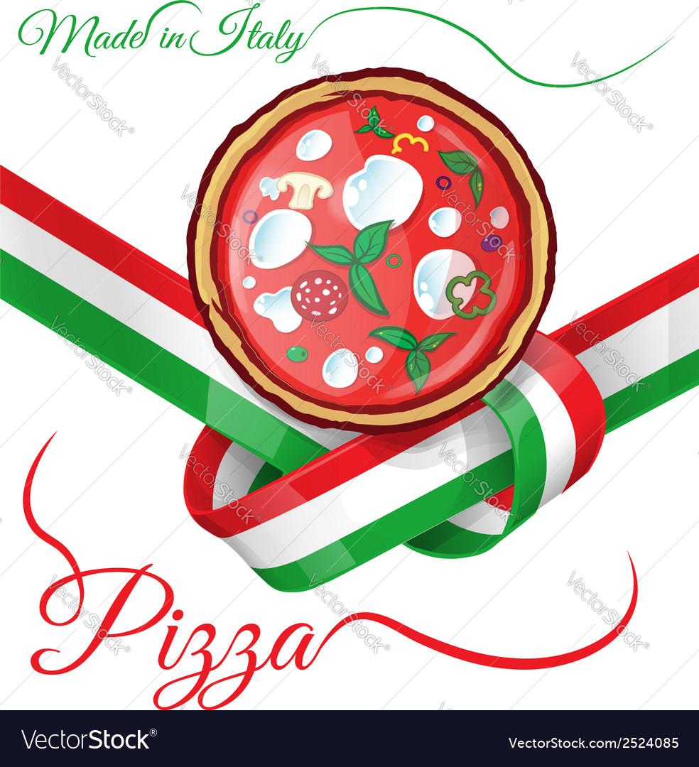 Italian pizza on ribbon flag
