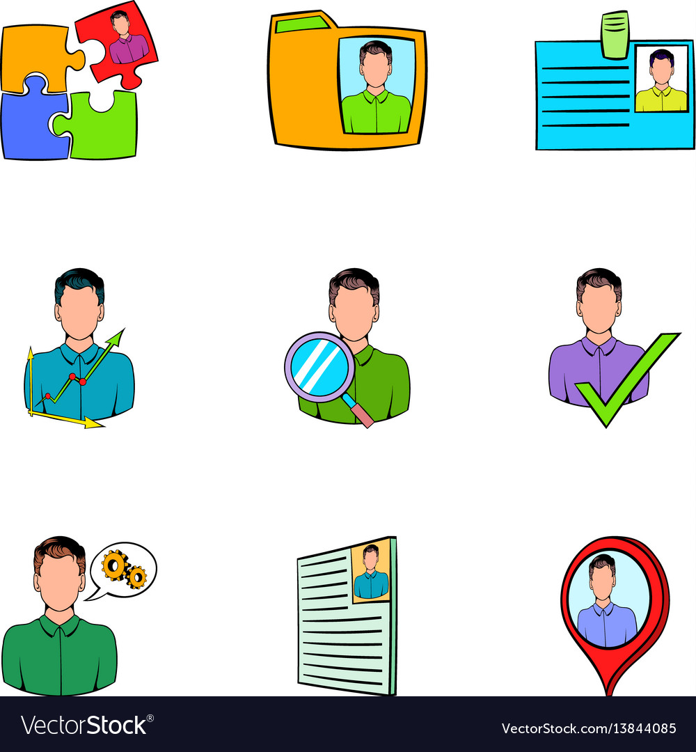 Job Search Icons Set Cartoon Style Royalty Free Vector Image