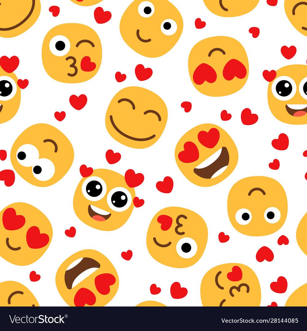 Love emojis seamless pattern