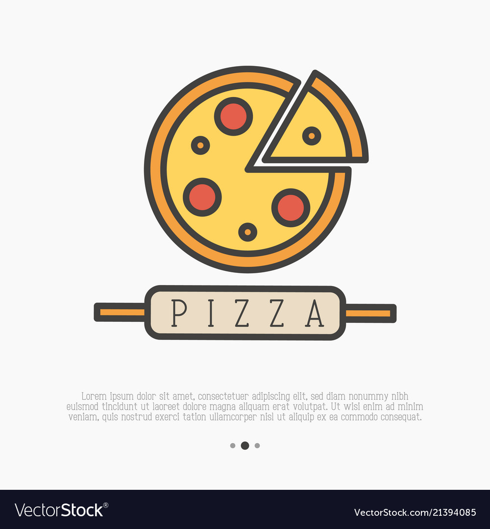 Pizza logo with thin line icons for menu design