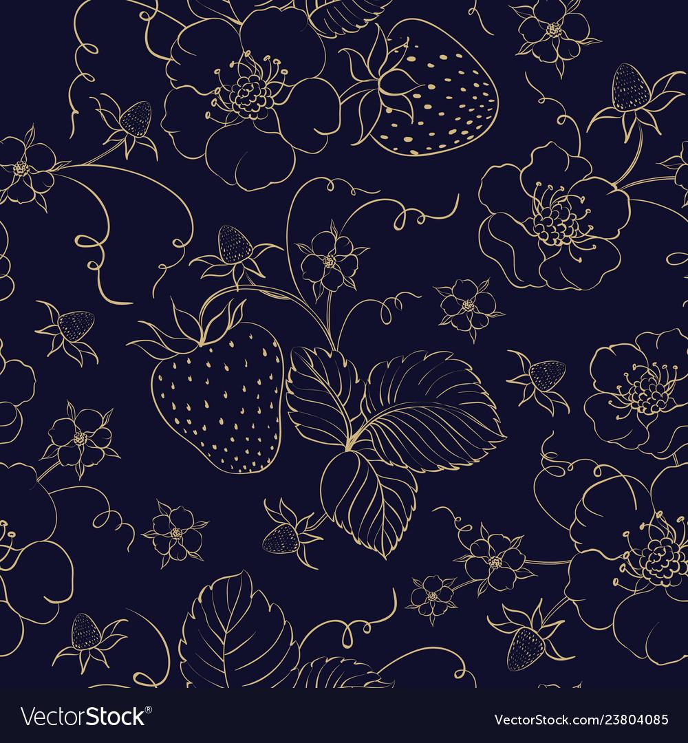 Seamless pattern of golden strawberry on dark