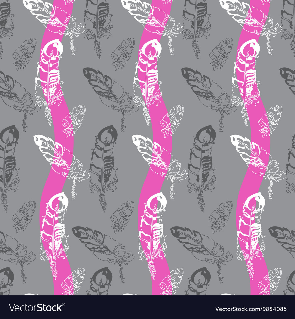 Seamless pattern with feathers on a striped