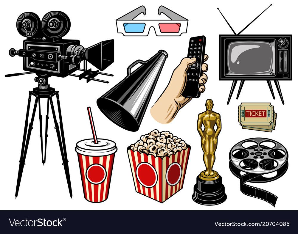 Set of cinema objects