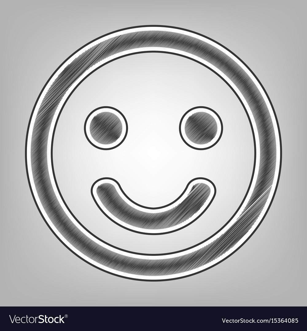 Smile icon pencil sketch imitation dark vector image