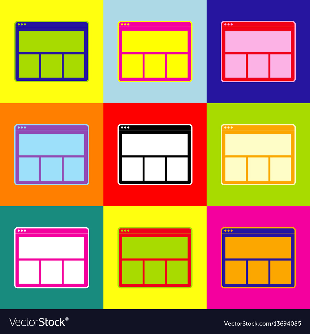Web window sign pop-art style colorful