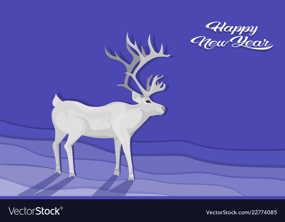 White deer cartoon animal reindeer flat blue