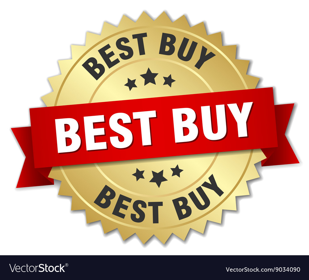 Best Buy 3d Gold Badge With Red Ribbon Royalty Free Vector
