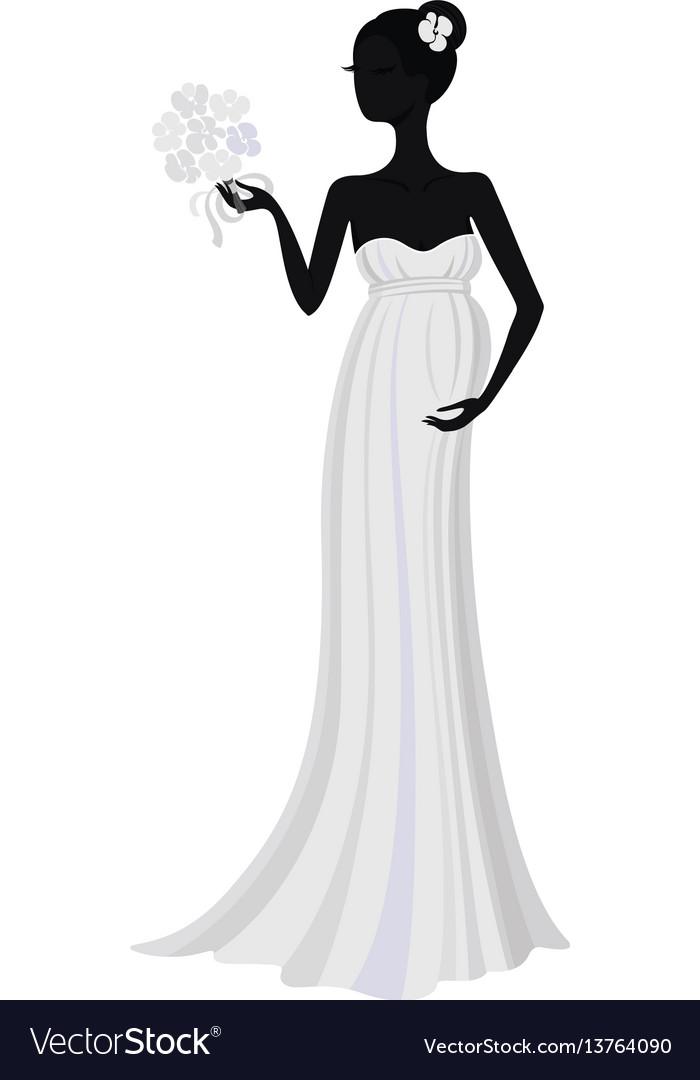 Bride in long dress silhouette