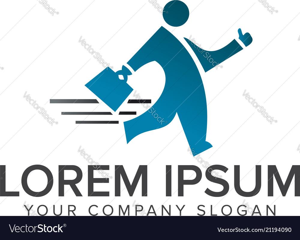 Business man walking logo design concept template