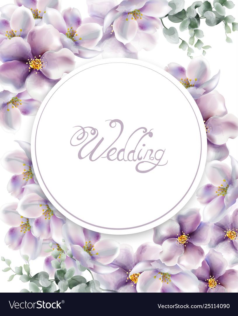 Cherry flowers wedding card watercolor